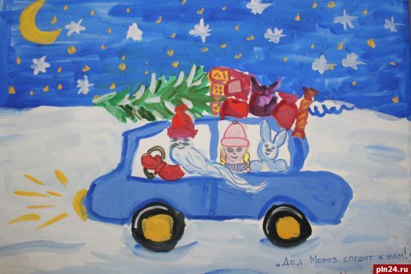 Рисунки новый год зима детские